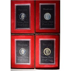 4 - SILVER PROOF BROWN IKES; 1971, 1972