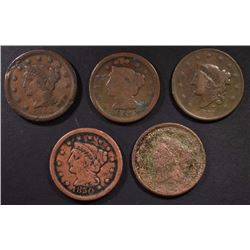 5 - LARGE CENTS; 1838, 1837, 1850, 1851,
