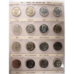 1964 - 2016 KENNEDY HALF DOLLAR SET 148 COINS
