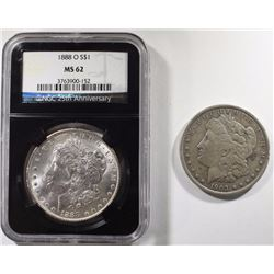 MORGANS: 1888-O NGC MS62 & 1903 VF