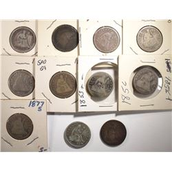 11pcs CIRC SEATED LIBERTY QUARTERS
