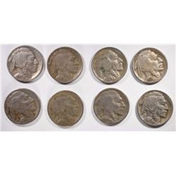 8 - BUFFALO NICKELS; 1928D VF, 1930S VF