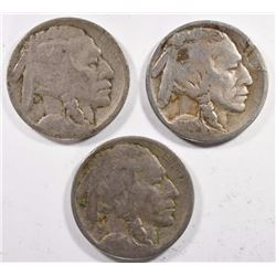 3 - 1914 BUFFALO NICKELS G, VG, FINE