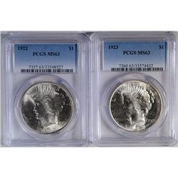 1922 & 1923 PEACE SILVER DOLLARS, PCGS-MS-63