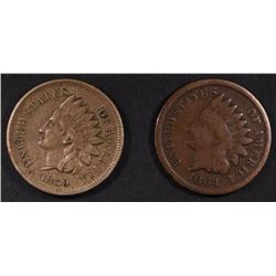 1859 NICE XF & 1864 BRONZE G/VG INDIAN HEAD CENTS