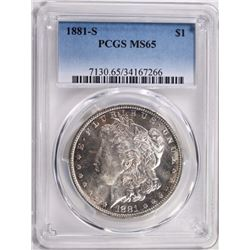 1881-S MORGAN DOLLAR PCGS MS65