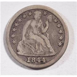 "1844 SEATED DIME VG ""ORPHAN ANNIE"" NICK REV."