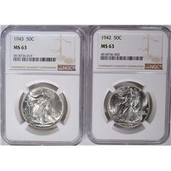 1942 & 1943 WALKING LIBERTY HALVES, NGC MS-63