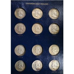 NICE CIRCULATED FRANKLIN HALF DOLLAR SET IN ALBUM