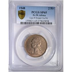 1948 FRENCH W. AFRICA 2 FRANCS PCGS SP65
