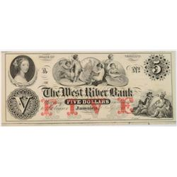 1850'S $5.00 VERMONT JAMAICA WEST RIVER BANK NOTE