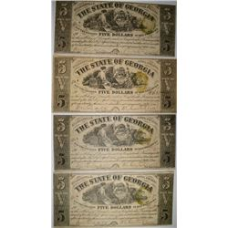 (4) 1864 $5.00 STATE OF GEORGIA NOTES