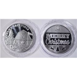 2-ONE OUNCE .999 SILVER CHRISTMAS ROUNDS