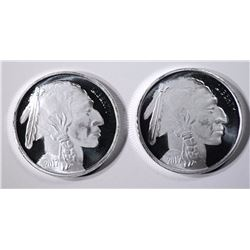 2 ONE OUNCE .999 SILVER BUFFALO/INDIAN ROUNDS