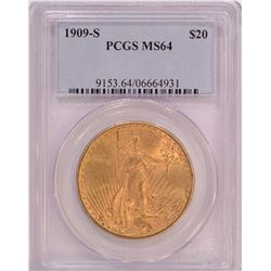 1909-S $20 MS64 PCGS Gold Eagle