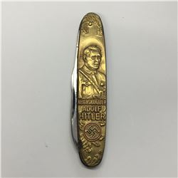 Reichskanzler Adolf Hitler Deutschland Erwacht Pocket Knife - With Rostfrei Stamped On The Blade wit