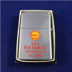 Vintage Zippo Style Lighter With Shell A & A Blue Flame Oil Logo - Model Continental Japan