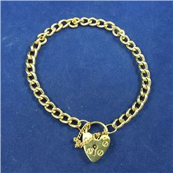 Vintage Gold Over Sterling Silver Bracelet with Love Heart Paddlock Clasp - Length 195mm