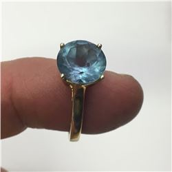Vintage Gold over Sterling Silver Ring with Large Alexandrite Gem Stone - 18.75mm Inside Diameter