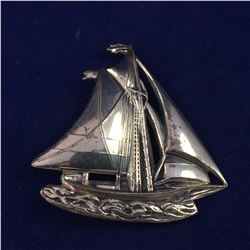 Early Sterling Silver Yacht Brooch - 40mm x 40mm