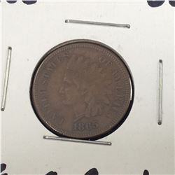 1865 US Indian Head Penny Coin - VF