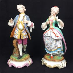 Pair of Antique Figurines , Parian with Secondry firing of Painting, with Glazed highlights  - Thuri