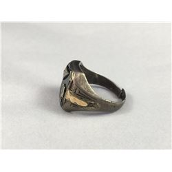 Early Sterling Silver & 10ct Gold Mens Ring with Black Onyx Face Encrusted with A Single Diamond & D