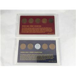 Two Carded USA Coin Sets from World War I & World War II