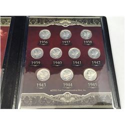 First Commemorative Mint Last 10 Years of Mercury Dimes (90%) Silver - 1936-1945 With COA in Origina