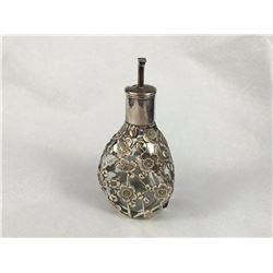Antique Chinese Sterling Silver Bitters Bottle of lobed form, with prunus branch mounts. (Some Fault