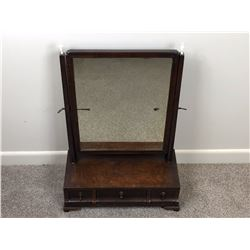 Georgian Mahogany Toilet Mirror with Three Fitted Drawers and Topped with Ivory Finials