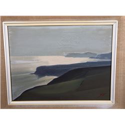 Early Painting By James Fry Of Land to Seascape - Some Damage