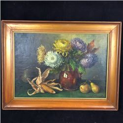 c1890 Still Life Painting by Eysenaux in Original Frame