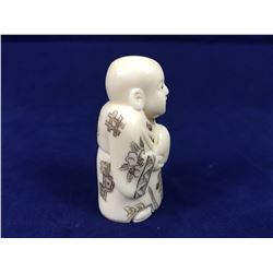 Antique Ivory Netsuke In the Form of Scholar Holding A Gourd  - Signature to Base - 53mm Tall