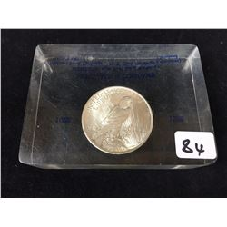 1922 USA Silver Peace Dollar Captured in Plastic Desk Paper Weight Block