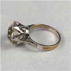 Vintage 9ct White & Yellow Gold Ring with Large Clear Gemstone