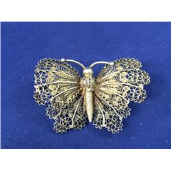 Early Sterling Silver Filagree Butterfly Brooch - Tested Sterling - 40mm x 26mm - Weight 6.30 Grams