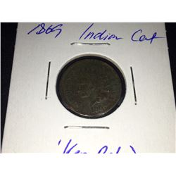 1869 US Indian Head One Cent Coin