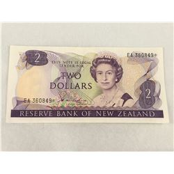 New Zealand $2 Replacement Banknote Hardie Signature - EA 360849* EF Condition