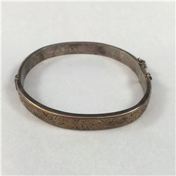 Antique 9ct Gold & Sterling Silver Bangle (Stamped 1/5th 9ct Gold & Sterling Silver, H & S, R.G. - M