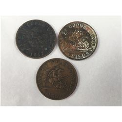Group of Three 1850's Upper Bank of Canada Half Penny Token Coins