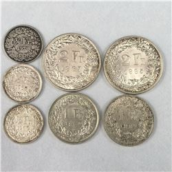 Group of Silver Swiss Francs Coins Inc. 2 Franc's