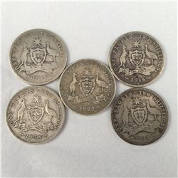 Group of Five Australian Silver Florins Inc. 1914