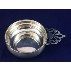 "Early ""Lunt"" Sterling Silver Porringer Dish with Lattice Worked Handle - 103mm Width - 40mm Height -"