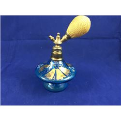 Art Deco Blue Art Glass with Gilt Atomizer Perfume Bottle - 115mm Tall - 70mm At Widest (Bulb Works)