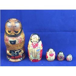 "Rare Japanese ""Sumo"" Matryoshka Nesting Doll Set - 135mm Tall"