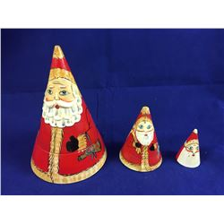 "Vintage ""Santa"" Conical Matryoshka Nesting Doll Set - 125mm Tall"