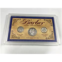 Cased USA Barber Coin Set - 1909 Barber Silver Quarter, 1913-P Silver Dime, 1912-D Silver Dime