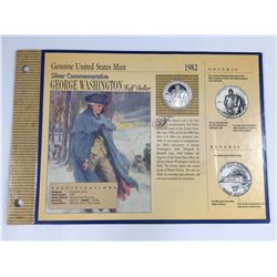 1982-S USA Silver Commemorative Half Dollar Coin (Proof UNC Condition) In Card with Certificate of A