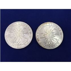 Two 1978 Austrian 100 Schilling Silver Coins - 700th Anniversary of the Battle of Durnkrut and Jeden